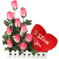 Long Lasting � Pink Roses n Red Heart
