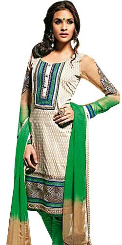 Splendid Beige and Green Cotton Printed Unstitched Salwar Suit