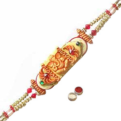 Holy Rakhi Etched with a Design of Ganesh