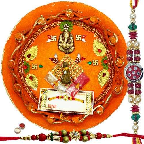 Charming 2 Rakhi with Rakhi Thali