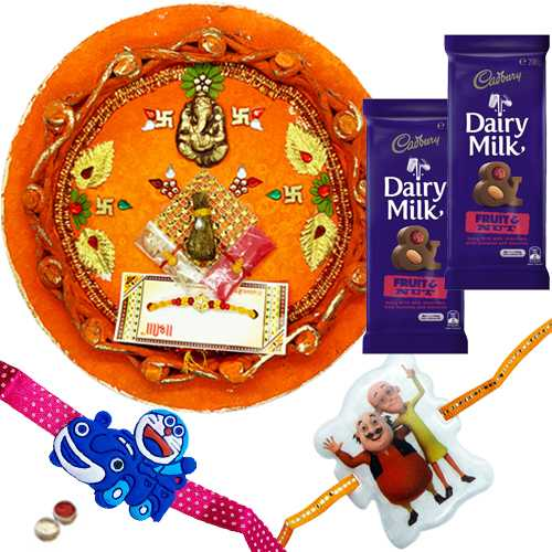 Ultimate Combo of Kid Rakhi , Rakhi Thali with Cadbury Dairy Milk Chocolate Fruit & Nut.
