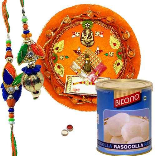 Graceful Rakhi, Pooja Thali With Bikano Rasgulla