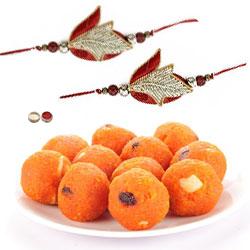 2 Ravishing Rakhi set with Bundi Laddoo