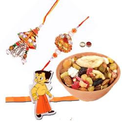 Pleasing Bhabiya Bhabhi Rakhi Set, Kid Rakhi And Dry Fruits