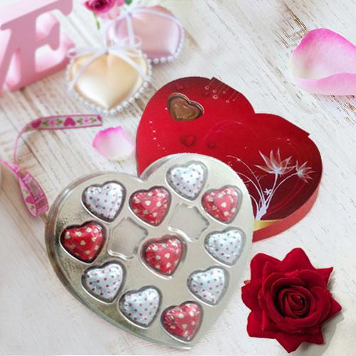 Red Heart Shape Pack of Assorted Homemade Chocolates