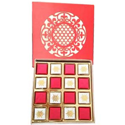 Delicious 16 Pcs. Handmade Chocolates in a Red Box