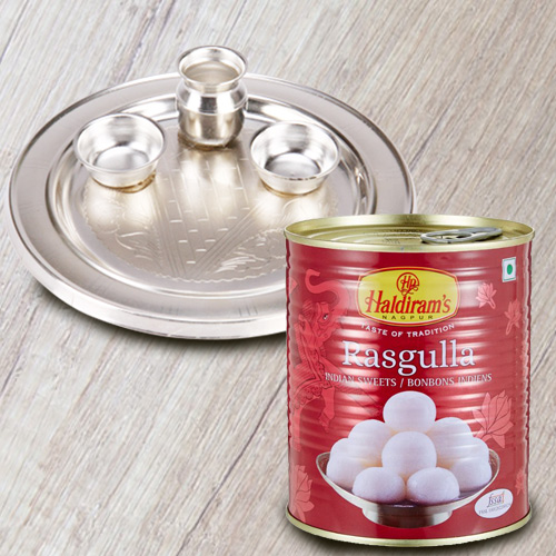 Irresistible Haldiram's 1 Kg. Rasgulla and 5-6 inch Silver Plated Puja Thali