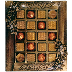Dazzling Mix of Diya Candles with Home-made Chocolate Assortments