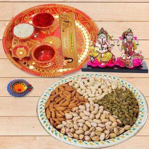Diwali Puja Thali with Ganesh Lakshmi & Dry Fruits