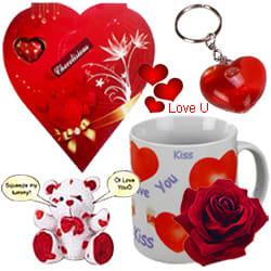 Lovely Valentine Hamper of Heart Shaped Keyring, Love Mug, Singing Teddy and chocolates