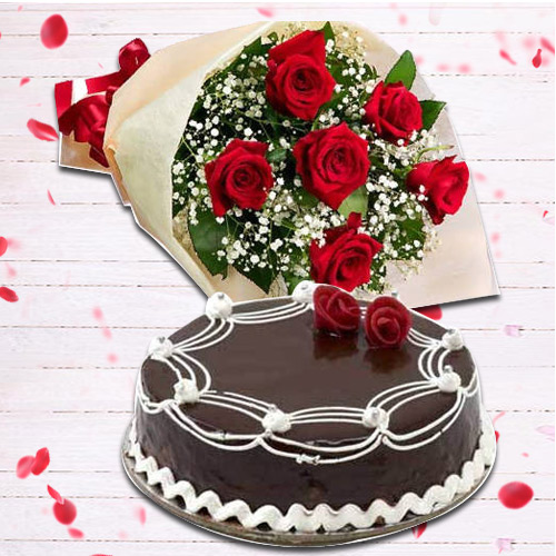 Graceful Combo of 6 Red Rose and 1 Lb Chocolate Cake