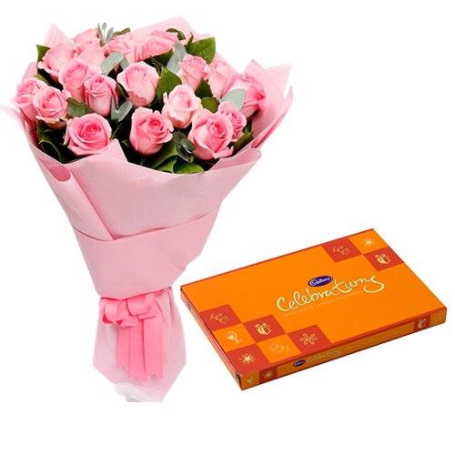 Gaudy Pink Roses Hand Bunch with Cadbury Assortment