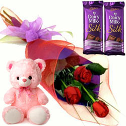 Admirable Small Teddy, Roses and Dairy Milk Silk Chocolate Bars
