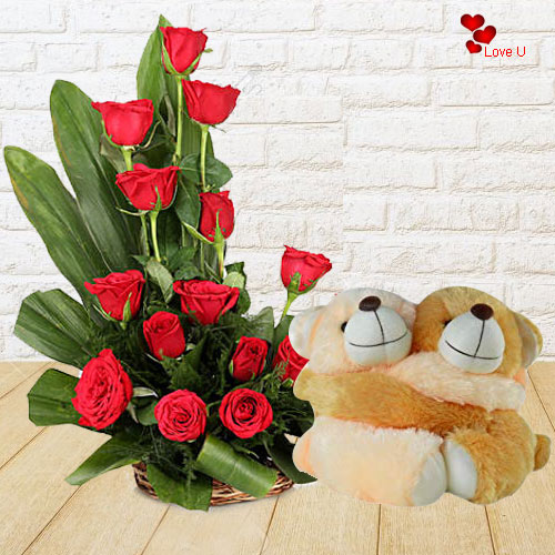 Buy Red Roses Basket N Twin Teddy for Rose Day