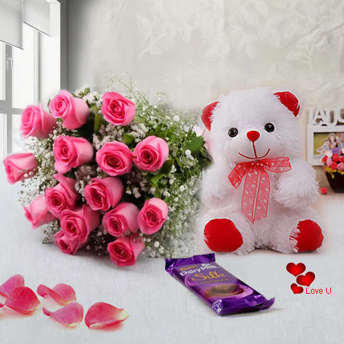 V-Day Combo Gift of Chocolates, Teddy N Pink Roses Bouquet