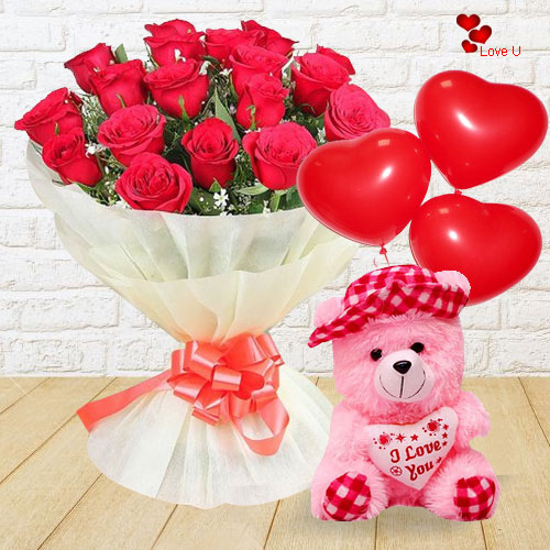 Red Rose Bouquet with Teddy and Balloons