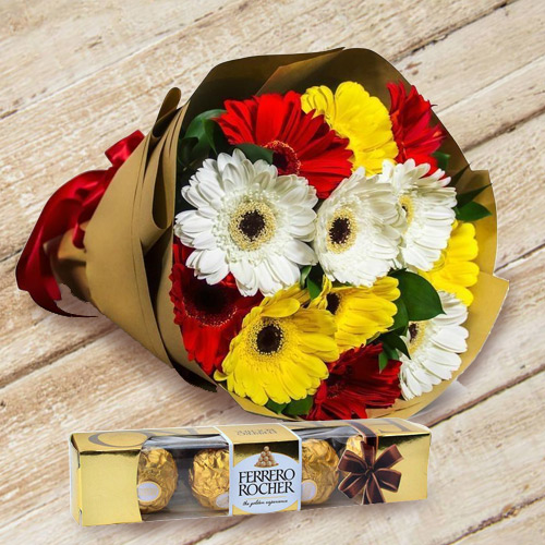Attractive Gerbera Bouquet with Creamy Ferrero Rocher for B Day