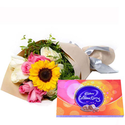 Color-Coordinated Happy Birth-Day Mixed Flower Bouquet with Cadbury Celebration