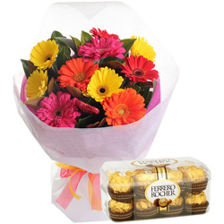 B Day Exciting Bouquet of Mixed Gerbera with Ferrero Rocher Chocolate