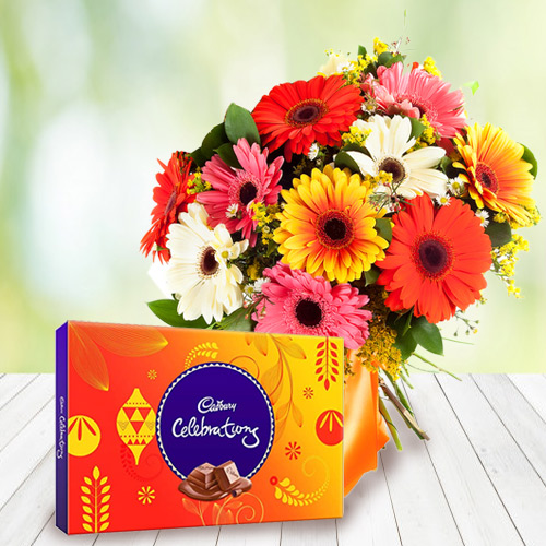 Enjoyable Anniversary Combo of Cadbury Celebration with Clourful Mixed Gerbera Bouquet