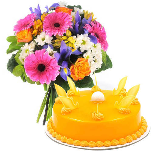 Top-Quality Mango Cake with Mixed Flowers Bouquet