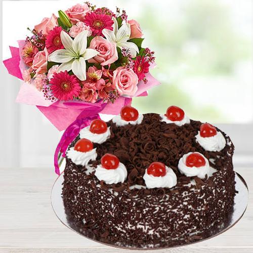 Sensational Mixed Flower Arrangements with 1 Lb Black Forest Cake