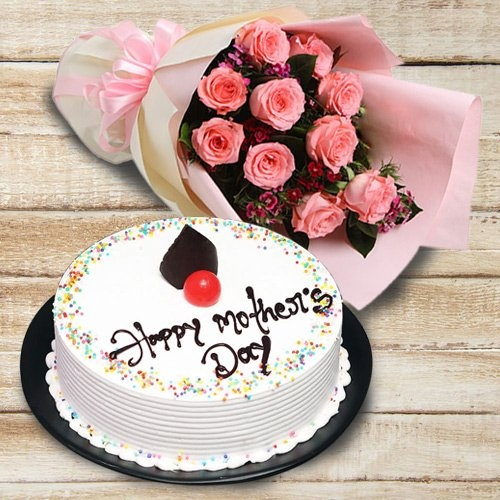 Fascinating Love Delight 12 Pink Roses Bouquet and 1/2 kg Cake