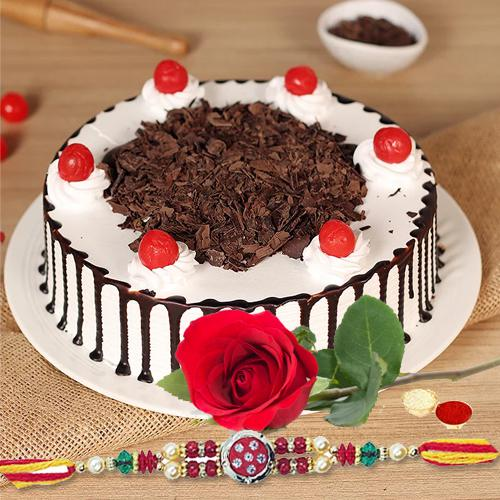 Time to rejoice with black forest cake, Rose,and Free Rakhi ,  Roli Tilak and Chawal