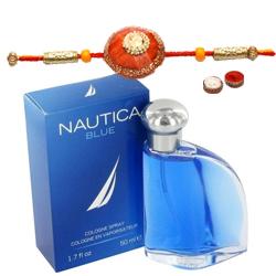 Showy Rakhi with Fragrant Nautica Blue EDT Perfume