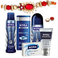 Shower Hour for Men with Nivea Gift Hamper for Men with Rakhi and Roli Tilak Chawal