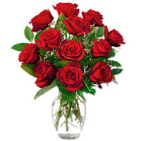 Captivating Red Roses in a Vase with Love