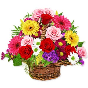Basket of Sizzling Mixed Flowers
