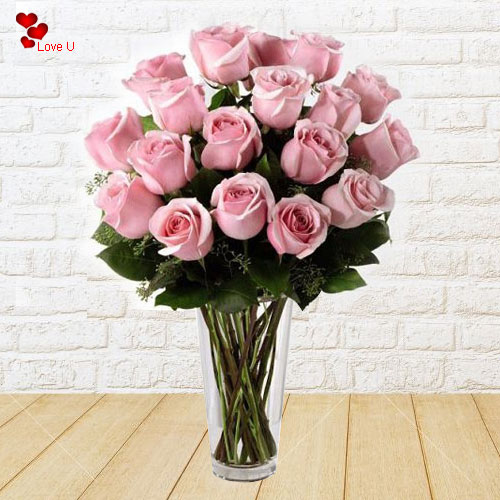 Order Pink Roses in a Vase for Rose Day