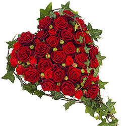 Beautiful Fresh Heart Shape Red Roses Premium Arrangement