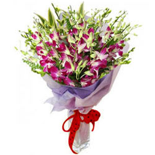 Simply Captivating Purple Orchids Bouquet
