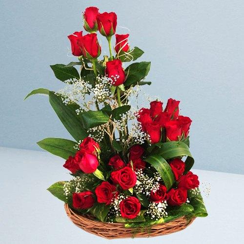 Flowering Basket Arrangement of 25 Dutch Red Roses