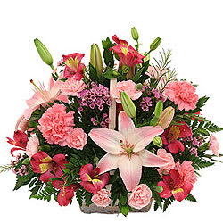 Blossoming Presentation of Mixed Flowers Basket with Petite Fillers