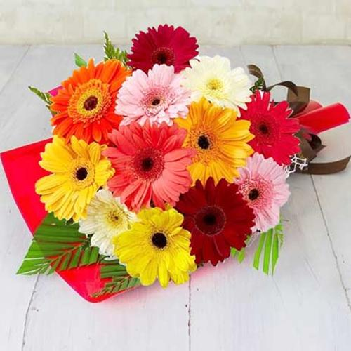 Color-Coordinated Mixed Gerberas Bouquet