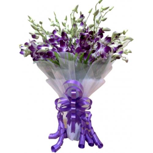 Captivating Bouquet of Blue Color Orchids