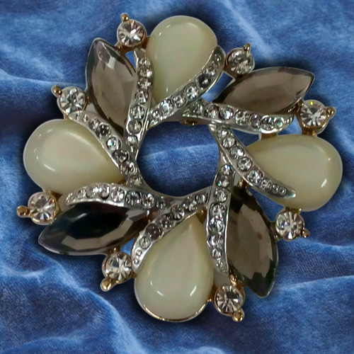 Awe Inspiring Opal Rhinestone Brooch Cum Pendant from Avon