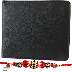 Rich Born�s Choice Potency Gents Leather Wallet with 1 Free Rakhi, Roli Tilak and Chawal