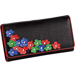 Blossom Themed Genuine Leather Wallet in Black with Colorful Leather Flowers from Leather Talks