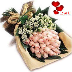 <u><font color=#008000> MidNight Delivery : </FONT></u>:Beautiful Bouquet of Peach / Pink Roses