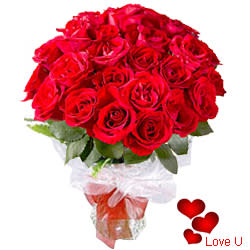 <u><font color=#008000> MidNight Delivery : </FONT></u>:24 Exclusive Red Dutch Roses Bouquet
