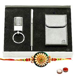 Free Rakhi, Roli Tilak and Chawal  added with Exclusive  Gift Set of  Pen , Visiting Card Holder and Key Chain along with