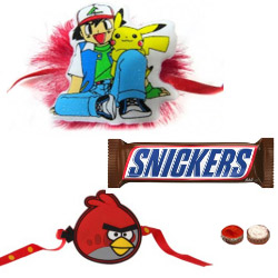 Charming Angry Bird Kid Rakhi, Pokemon Kid Rakhi With Snikers Chocolate
