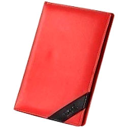 Designer Faux Leather Conference Folder in Red from Vaunt