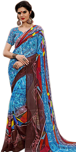 Appealing Ladies Special Marbel Chiffon Saree in vibrant colors