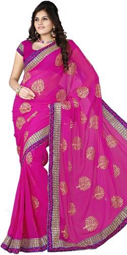 Adorning chiffon embroidered pink colour saree