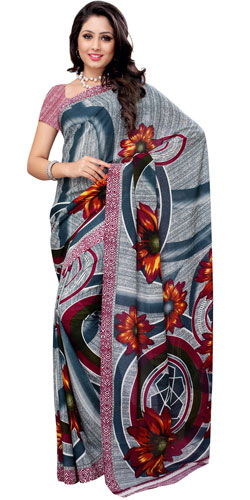 Designer Renial Georgette Printed Saree Coloured in Teal and White